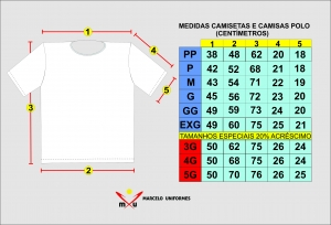 Tabela de medidas de camisetas e polos