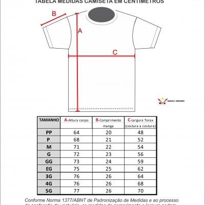 Tabela de Medidas Camisetas e Polos Masculinas